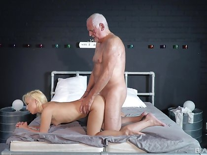 Striptease and passionate sex between an older guy and Daisy Dawkins