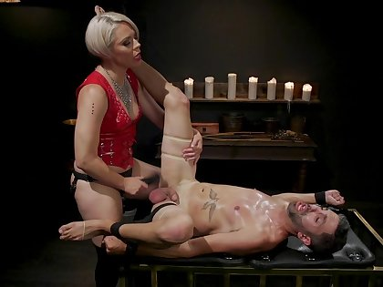 Dominant blonde ass fucks male slave until exhaustion