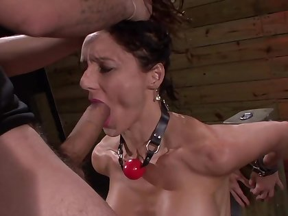 Strong gagging and hardcore BDSM anal for the brunette whore