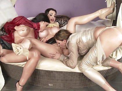 Amazing pornstars Tiffany Shine, Aletta Ocean and April Blue in horny masturbation, big ass adult scene