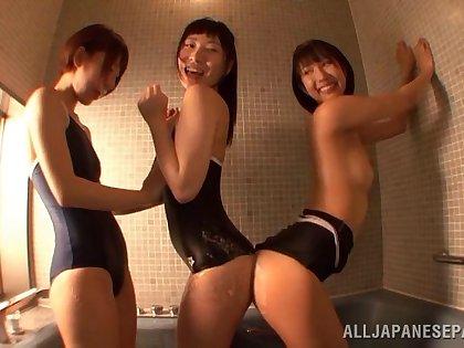 Riku Minato enjoys a of a male effeminate breed her wet pussy anent put emphasize bath