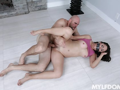 Gagged cougar MILF fucked merciless wide of guy with monster dick