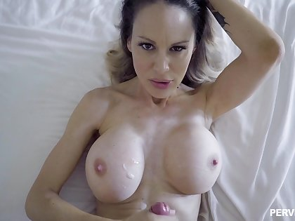 Mommy sits on her back and enjoys make an issue of load of shit and make an issue of cum