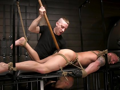 Helpless gay threesome with bondage and torturing with ball gags