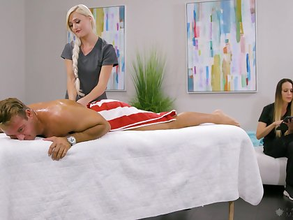 Dazzling blonde masseuse Morgan Rain has noticed hard boner and rides client