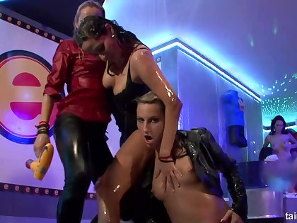 Torrid Lesbians Cut capers at the Drunk Sexual intercourse Orgy
