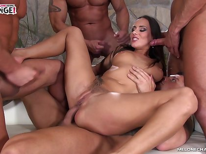 The a handful of and only tatted near gangbang queen Mea Melone loves DP