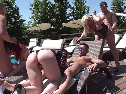 Nothing beats a stupid orgy and these cock hungry whores just love to fuck