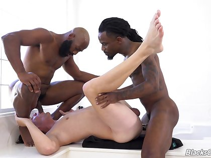 Gay male endures double BBC into his ass and throat