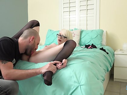 Blonde girl Alice Pink is happy to drag inflate delicious bushwa in the horniest way