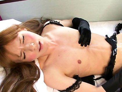 Tranny tgirl tugging on her hard cock