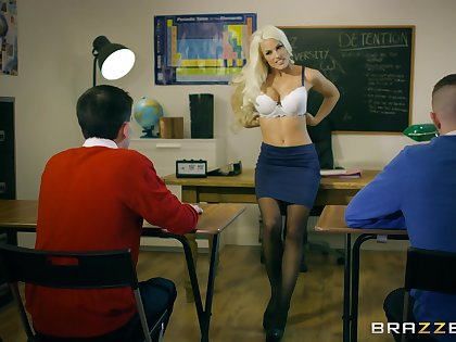 Young lads show their teacher the best threesome she evermore had