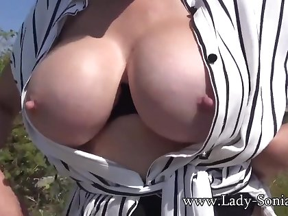 Lass Sonia - British Mature domina flashing tits completed