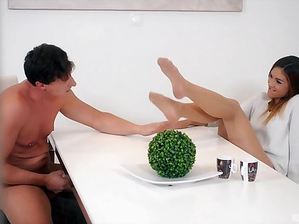 Hardcore fucking on the table with foot fetish chick Lullu Gun