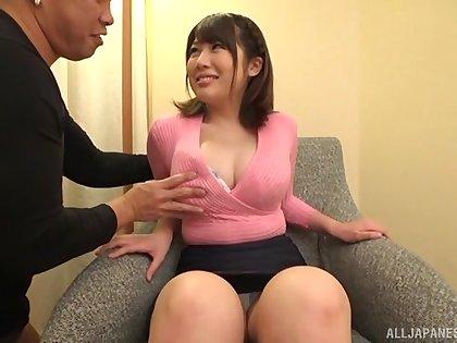 Horny guy gucks his GF Kirishima Sakura between boobs and in the puss