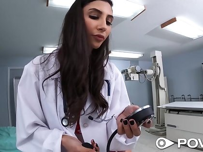 Sex games with bodacious babe in nurse uniform and stockings Gianna Dior