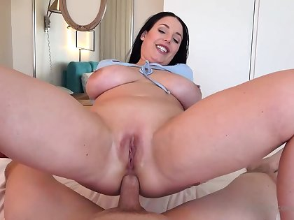 Blue- witnessed dark-haired got down on her knees to fellate jizz-shotgun after getting inserted here it