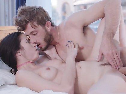 Slim joyless passionately rides BF's hard cock in the bedroom