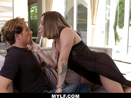 Dude is awestruck wide of his stepmom and that curvy MILF wants some fresh dick