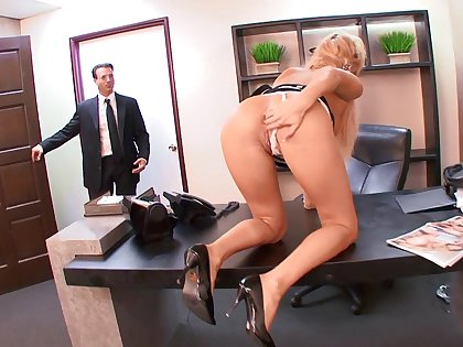 Superb nude lovemaking for the busty secretary