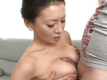 Japanese MILF is taking be fond of of two cocks in a threesome