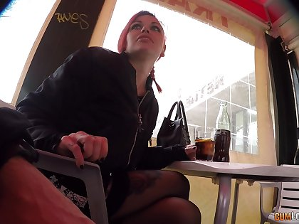 Dirty redhead takes elsewhere her panties and gets fucked hard by a stranger
