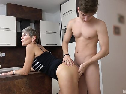 Mature rides nephew monitor he gags her a bit